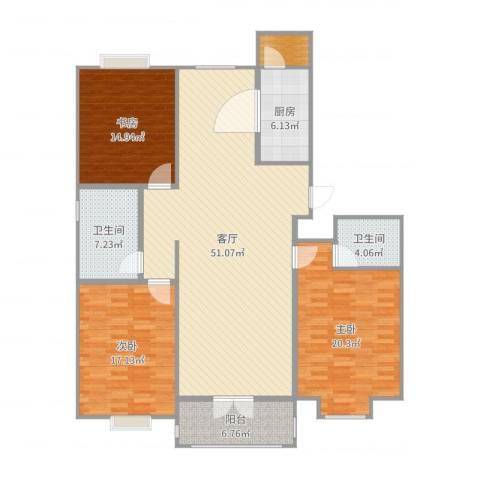 巨海城八区3室1厅2卫1厨162.00㎡户型图