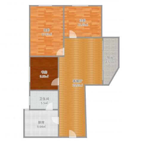 名汇大厦A座汇景阁6083室2厅1卫1厨122.00㎡户型图