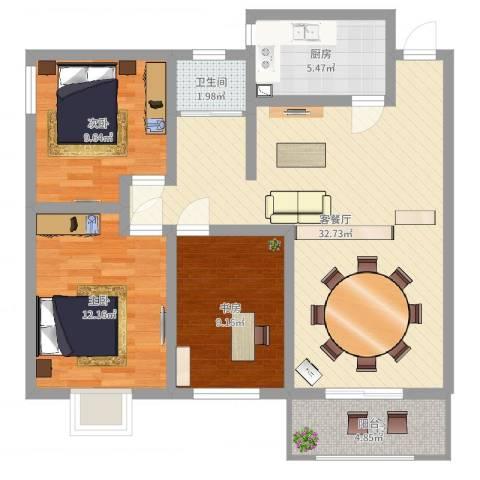 峰华都市花园3室2厅1卫1厨95.00㎡户型图