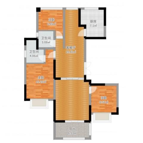 中旅狮山名门3室2厅2卫1厨107.00㎡户型图