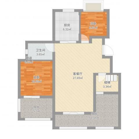 万科金色半山2室2厅1卫1厨93.00㎡户型图