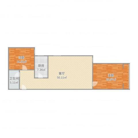 水泥制管厂家属院2室1厅1卫1厨126.00㎡户型图