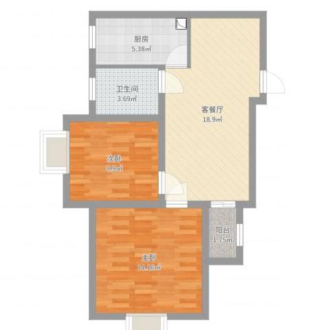 佳龙大沃城2室2厅1卫1厨66.00㎡户型图