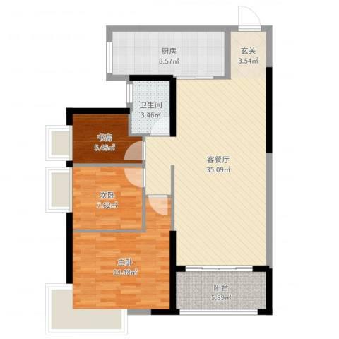 益阳碧桂园3室2厅1卫1厨101.00㎡户型图