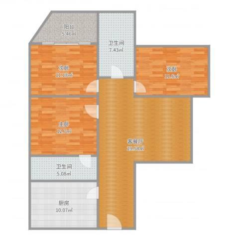 康晴居10073室2厅2卫1厨116.00㎡户型图