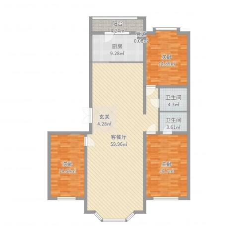 景苑花园3室2厅2卫1厨161.00㎡户型图