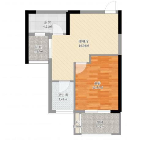 铜锣湾香逸澜湾1室2厅1卫1厨56.00㎡户型图