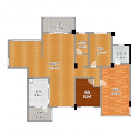 南郡明珠3室2厅2卫1厨170.00㎡户型图