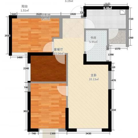 路劲太阳城时光里3室2厅1卫1厨89.00㎡户型图