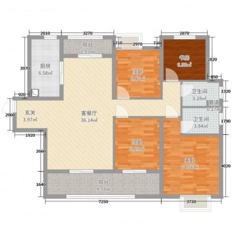 中海・寰宇天下4室2厅2卫1厨102.00㎡户型图