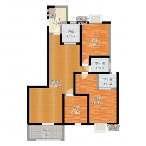 申奥美域3室2厅2卫1厨126.00㎡户型图