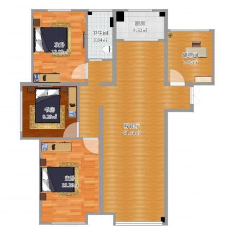 海亮悦府3室2厅1卫1厨117.00㎡户型图