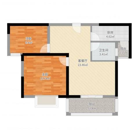 胜利华庭2室2厅1卫1厨76.00㎡户型图
