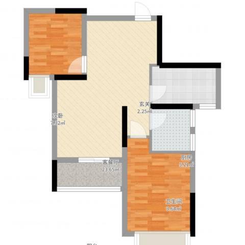 西湖怡景园2室2厅1卫1厨69.00㎡户型图