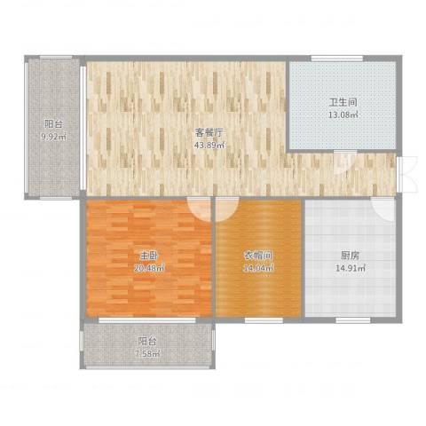 百大绿城西子国际1室2厅2卫1厨155.00㎡户型图
