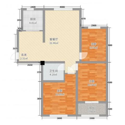 宏宇・龙湖湾3室2厅1卫1厨110.00㎡户型图