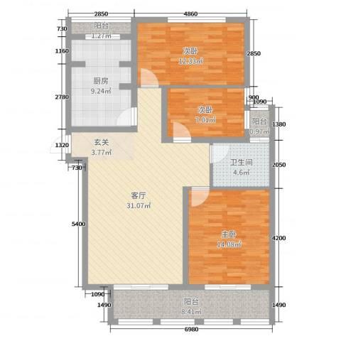 理工帝湖湾3室1厅1卫1厨110.00㎡户型图