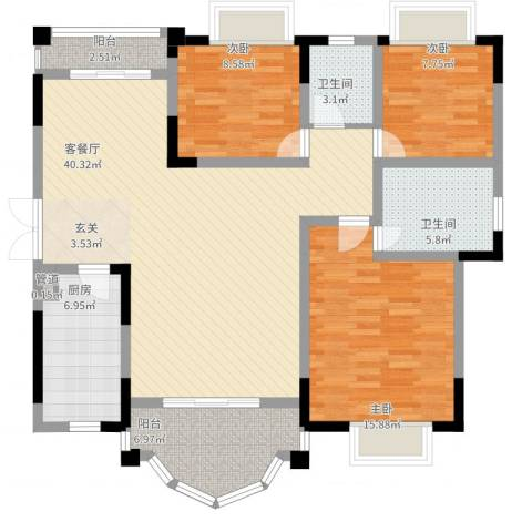 锦绣江山3室2厅2卫1厨141.00㎡户型图