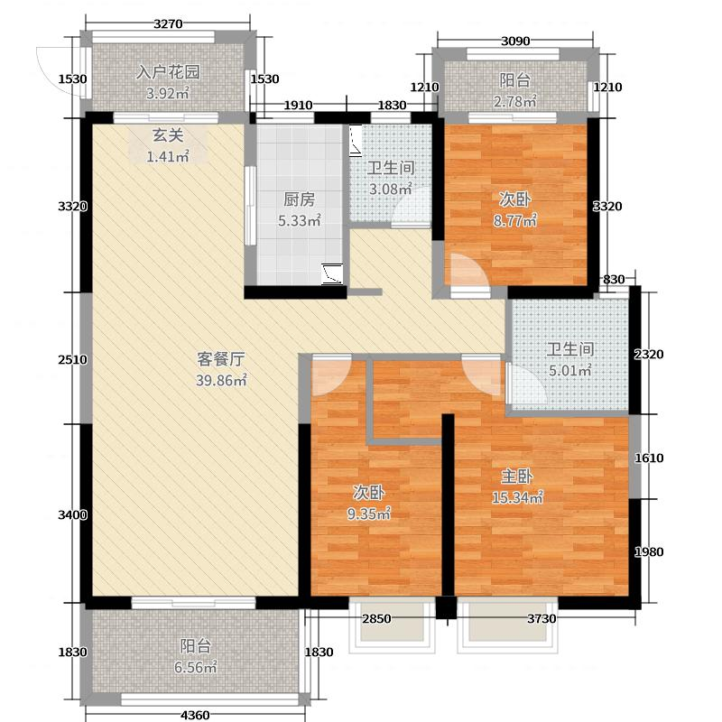 扬州万达广场125.00㎡C2户型3室3厅2卫1厨
