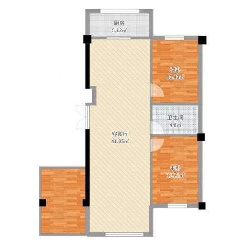 东升御景苑三期2室2厅1卫1厨105.00㎡户型图