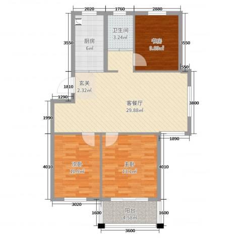 恒通康城3室2厅1卫1厨96.00㎡户型图