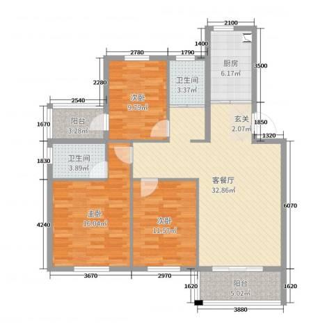 恒通康城3室2厅2卫1厨115.00㎡户型图