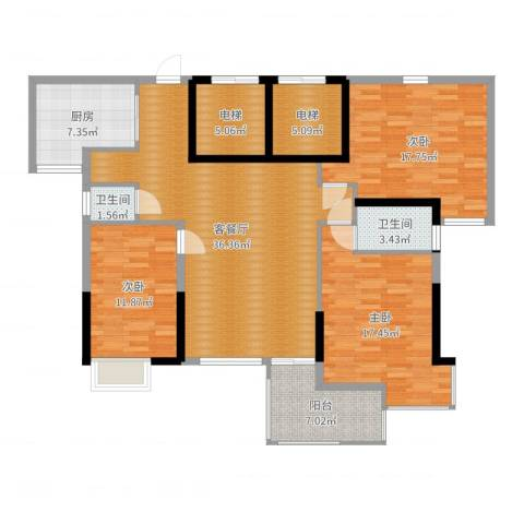 五岭国际3室2厅2卫1厨141.00㎡户型图