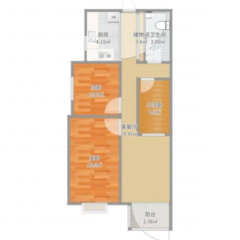 两室两厅一卫一厨Hs0152室2厅1卫1厨58.00㎡户型图