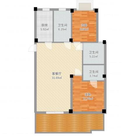 如意金水湾2室2厅3卫1厨110.00㎡户型图