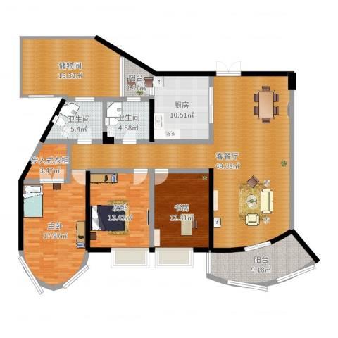 盛世钱塘3室2厅2卫1厨181.00㎡户型图