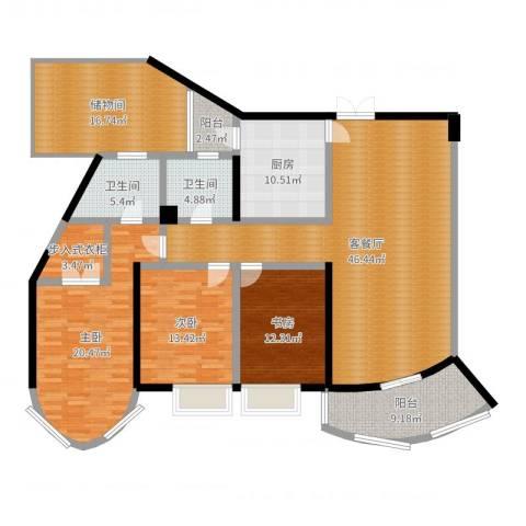盛世钱塘3室2厅2卫1厨182.00㎡户型图