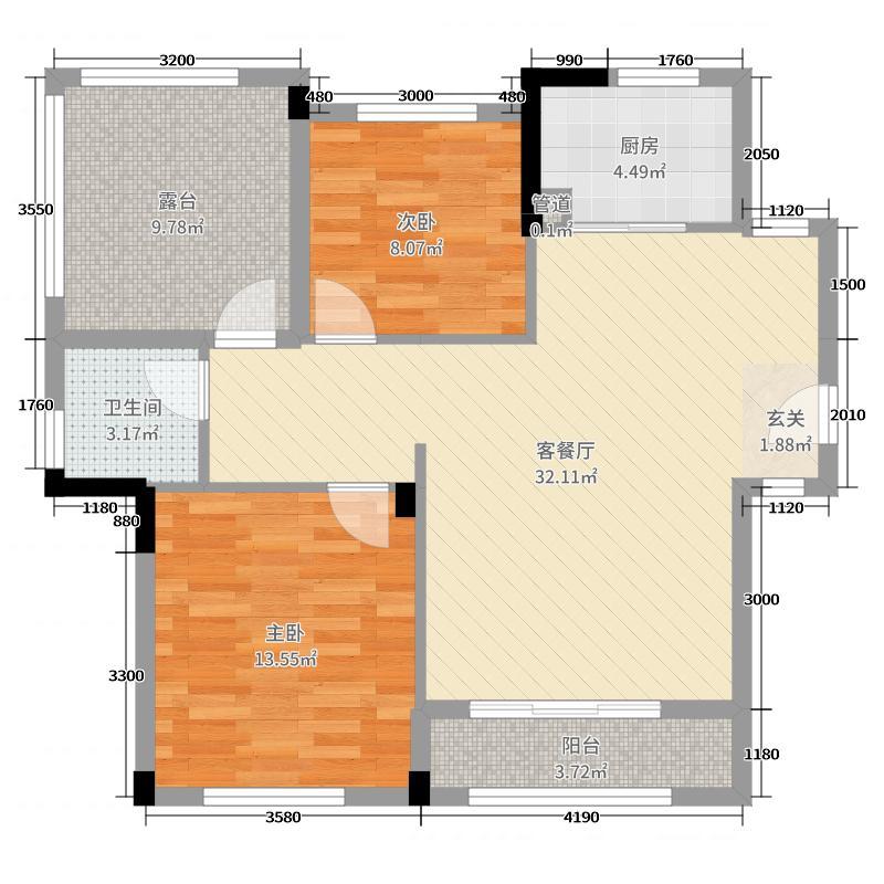 三盛国际海岸85.00㎡洋房G1户型2室2厅1卫1厨