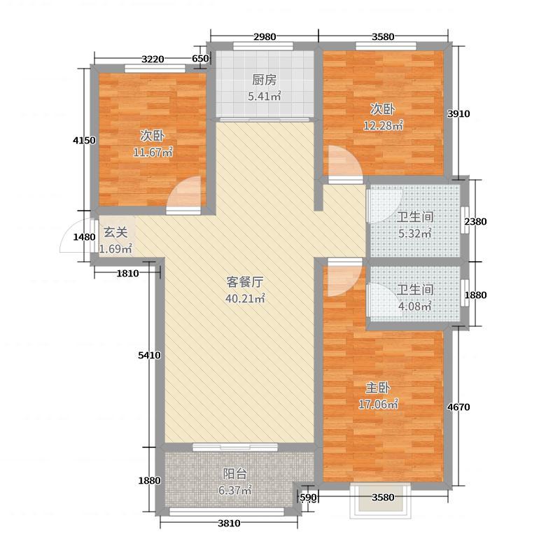 盛紫中央公园128.00㎡二期9号楼标准层G户型3室3厅2卫1厨