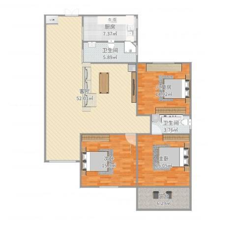 华茂大厦3室1厅2卫1厨121.19㎡户型图