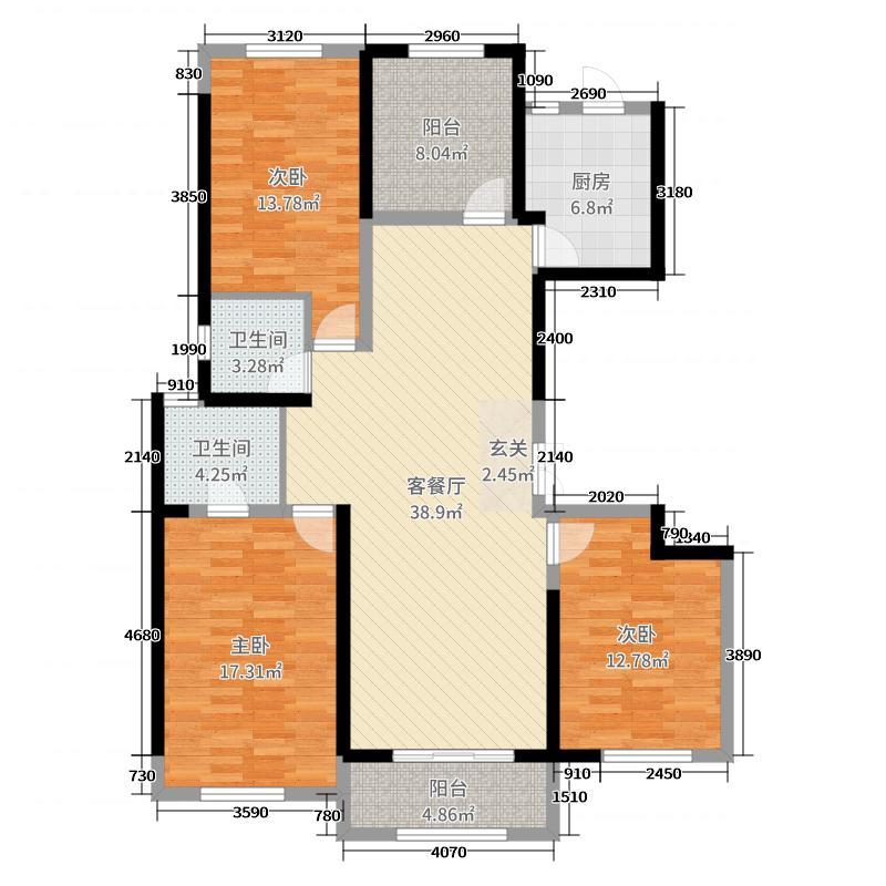 朗悦公园道1�138.00㎡四期玺园E1户型4室4厅2卫1厨