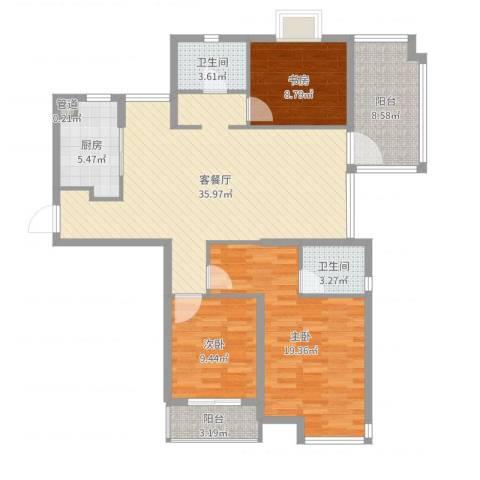 众安国泰花园3室2厅2卫1厨122.00㎡户型图