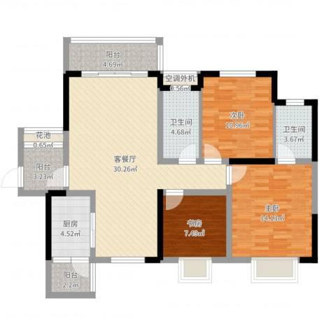 半岛花园3室2厅2卫1厨109.00㎡户型图
