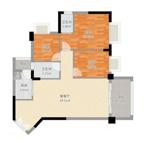 四洲城市经典3室2厅2卫1厨99.00㎡户型图