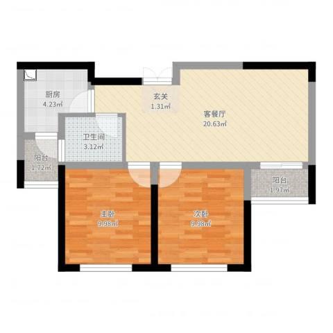 大丰区香堤雅郡小区2室2厅1卫1厨65.00㎡户型图