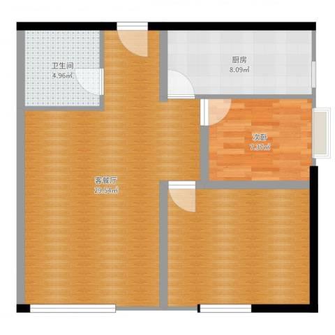 高新水晶城1室2厅1卫1厨80.00㎡户型图