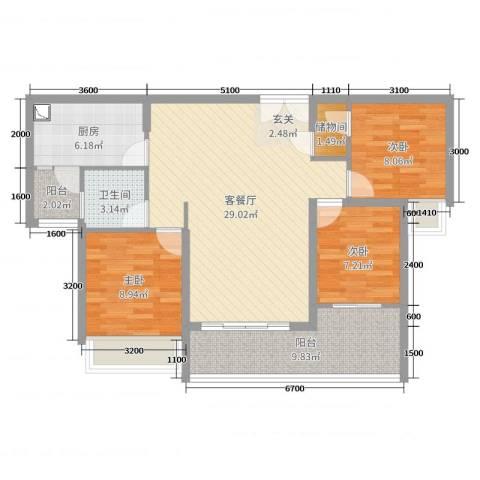 海雅君悦花园3室2厅1卫1厨104.00㎡户型图