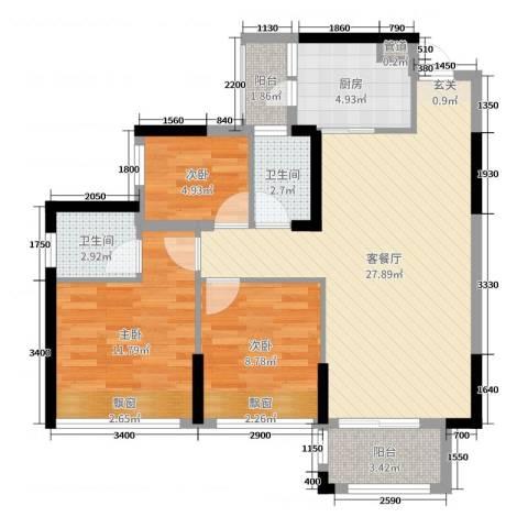 鸿安御花园3室2厅2卫1厨89.00㎡户型图