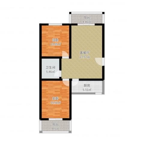 幸福家园2室2厅1卫1厨96.00㎡户型图