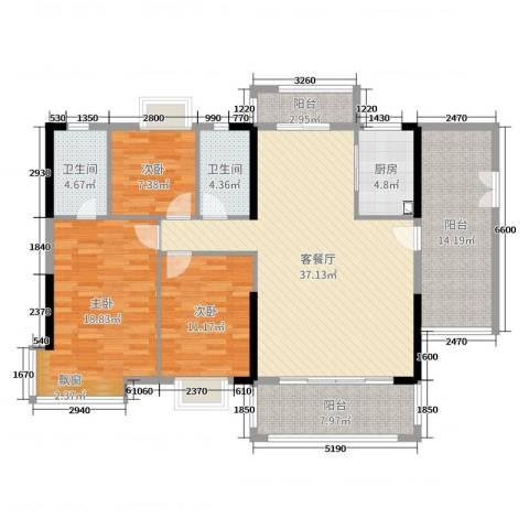 经纬凯旋城3室2厅2卫1厨132.00㎡户型图
