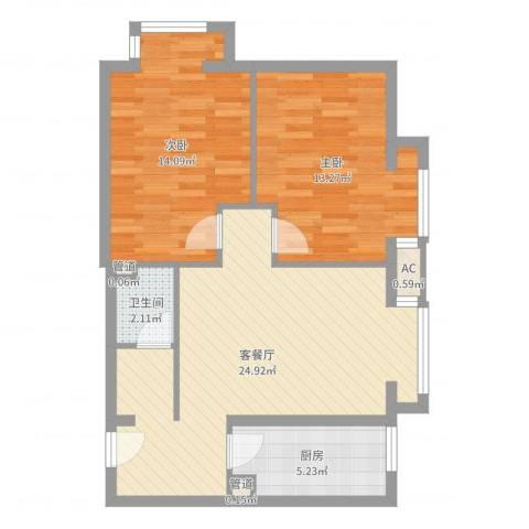 首尔甜城2室2厅1卫1厨76.00㎡户型图