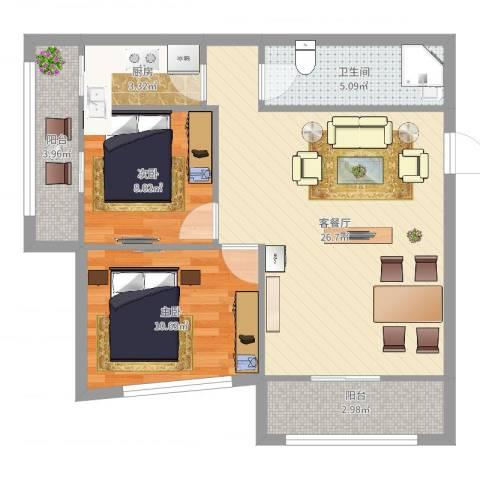 通惠家园惠民园2室2厅1卫1厨76.00㎡户型图
