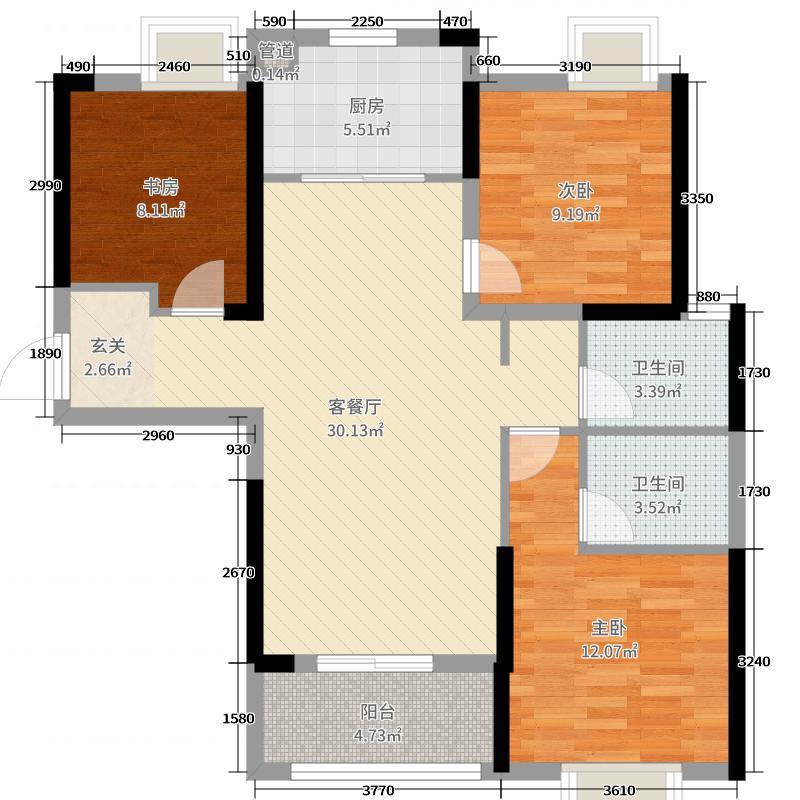 杨春湖畔109.33㎡7号楼D1户型3室3厅2卫1厨