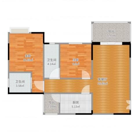 凤凰山城2室2厅2卫1厨87.00㎡户型图