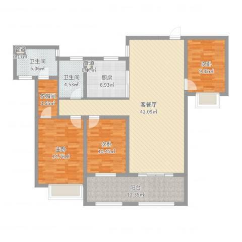 宣佳世纪嘉园3室2厅2卫1厨137.00㎡户型图