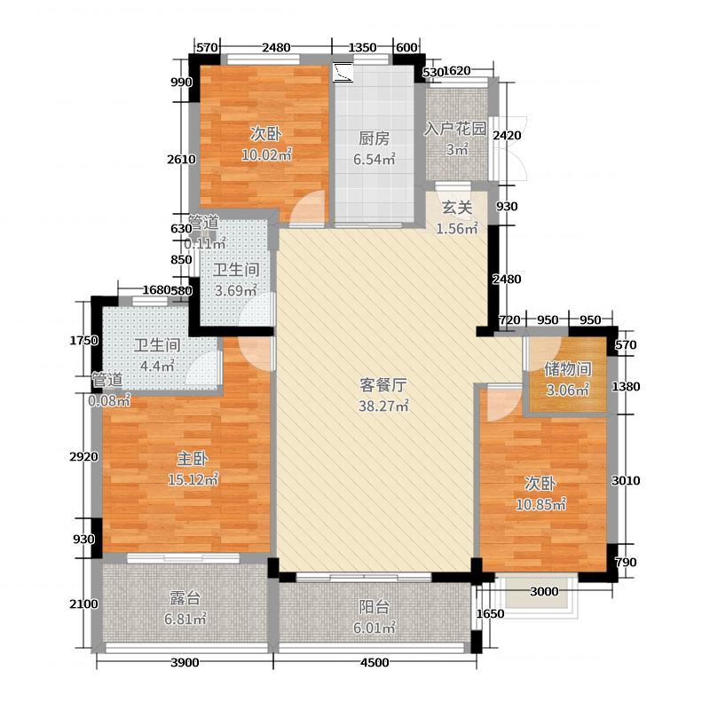 恒大江湾127.00㎡28#4层户型3室3厅2卫1厨